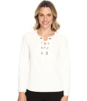 Vince Camuto - Bell Sleeve Lace-Up Ponte Blouse