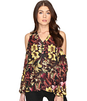 CATHERINE Catherine Malandrino - Printed Chiffon Cold Shoulder Top