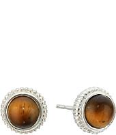 Shinola Detroit - Sterling Silver Coin Edge Studs w/ Tiger's Eye Earrings