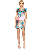 Just Cavalli - Palm Print Fitted Short Sleeve Dress