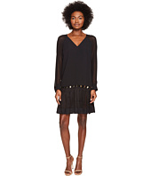 Versace Collection - Long Sleeve Sheer V-Neck Dress