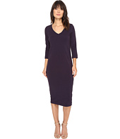 Michael Stars - Cotton Lycra 3/4 Sleeve V-Neck Midi Dress