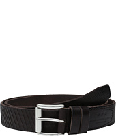 John Varvatos - Laser Cut Textured Belt with Roller Buckle