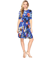 Maggy London - Artistic Bloom Jersey Pleated Fit and Flare Dress