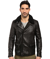 COACH - Long Leather Moto with Shearling Collar