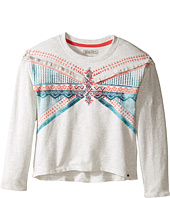 Lucky Brand Kids - French Terry Pullover Shirt with Embroidery and Fringe Trim (Little Kids)