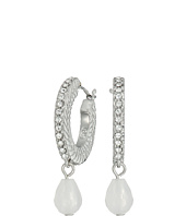 Cole Haan - Basket Weave Pave Stone Drop Huggie Earrings