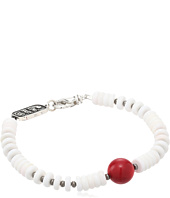 King Baby Studio - White Shell Bead Bracelet with a Round Red Coral Bead