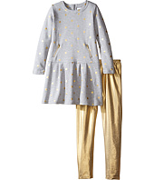 Kardashian Kids - Gold Fleece Dress with Metallic Leggings Two-Piece Set (Toddler/Little Kids)
