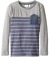 Kardashian Kids - Blocked and Striped Inverted Chambray Pocket Tee (Toddler/Little Kids)