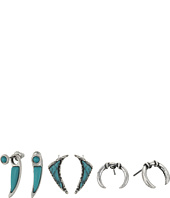 Steve Madden - Turquoise Horseshoe Curved Triangle and Curved Bar Post Earrings Set