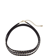 Steve Madden - Suede Wrap-Around w/ Metal Ball Stud Choker Necklace