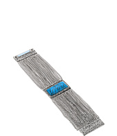 Steve Madden - Rectangle Turquoise Stone Textured Border w/ Curb Chain Bracelet