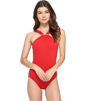 MICHAEL Michael Kors - Villa Del Mar Logo Bar High Neck One-Piece