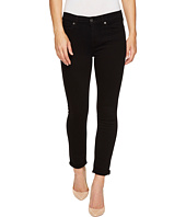 7 For All Mankind - The Skinny Crop & Roll w/ Squiggle in Black Twill