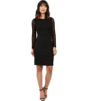 Adrianna Papell - Long Sleeve Lace Detail Fit Dress