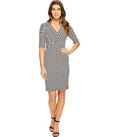 Adrianna Papell - Elbow Sleeve Stripe Ottoman Fit Dress