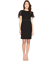Adrianna Papell - Knit Crepe Capelet Sheath Dress
