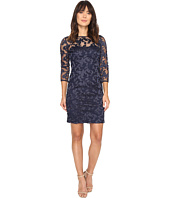 Aidan Mattox - Long Sleeve Embroidered Mesh Cocktail Dress with Boat Neck