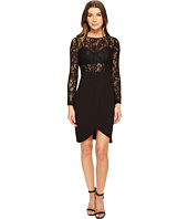 Aidan Mattox - Long Sleeve Lace & Crepe Cocktail Dress with Illusion Detail