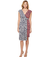 Maggy London - Spot Dot Jersey Fit and Flare Dress with Pleated Skirt