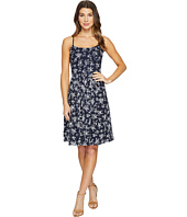 Maggy London - Petite Sprig Printed Eyelet Fit and Flare Dress