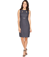 Tahari by ASL - Textured Sheath Dress w/ Cut Outs