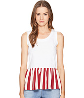 RED VALENTINO - Light Cotton Jersey & Striped Cotton Top