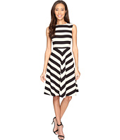 Tahari by ASL - Textured Scuba Mitered Stripe Dress