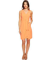 Donna Morgan - Crepe Dress w/ Tie Detail at Waist and Overlapping Skirt