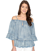 Blank NYC - Off the Shoulder Denim Shirt in Next In Line
