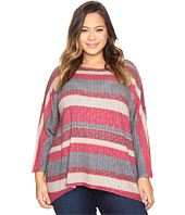 Nally & Millie - Plus Size Burgundy Stripe Top