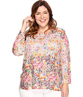 Nally & Millie - Plus Size Pink Floral Border Print Tunic