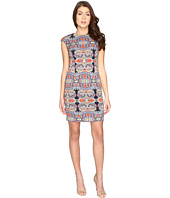 London Times - Printed Scuba Extended Cap Sheath Dress
