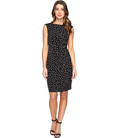 London Times - Polka Dot Sheath Dress with Gathers