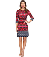 London Times - Twin Garland Long Sleeve Shift Dress