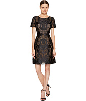 Marchesa Notte - Laser Cut Satin Short Sleeve Dress