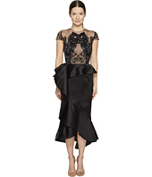 Marchesa - Ruffled Peplum Skirt w/ Beaded Black Horse Bodice
