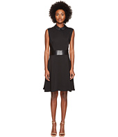 The Kooples - Robe Bureau Sans Manches Details Cuir Taille Col Dress