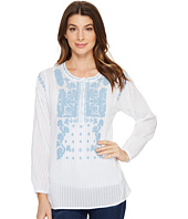 Dylan by True Grit - Embroidered and Stitched Cotton Long Sleeve Tunic