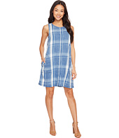 Dylan by True Grit - Indigo Windowpane Plaid Shift Dress w/ Pockets