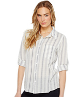 Dylan by True Grit - Sea Stripes One-Pocket Roll Sleeve Shirt