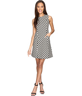Donna Morgan - Sleeveless Seamed Woven Dot Jacquard Fit and Flare with Pockets