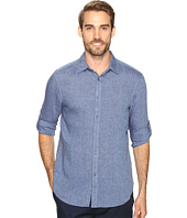Perry Ellis - Solid Rolled-Sleeve Linen Shirt
