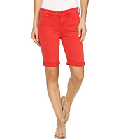 Liverpool - Hayden Rolled-Cuff Bermuda in Pigment Dyed Slub Stretch Twill in Ribbon Red