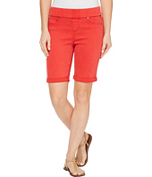 Liverpool - Sienna Pull-On Bermuda with Rolled-Cuff in Pigment Dyed Slub Stretch Twill in Ribbon Red