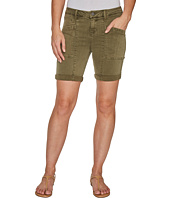 Liverpool - Kylie Cargo Shorts with Flat Patch Pockets on Pigment Dyed Slub Stretch Twill in Olive Night