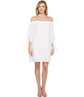 Laundry by Shelli Segal - Off the Shoulder Tie Sleeve Dress w/ Embroidered Hem