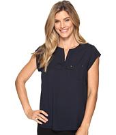 Ivanka Trump - Cap Sleeve Pocket Woven Top