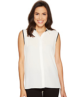 Vince Camuto - Sleeveless Collared Button Down Blouse with Back Pleat